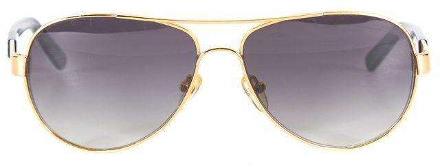 TORY BURCH Gold Wire Frame Polarized Lens Aviator Sunglasses w/ Case