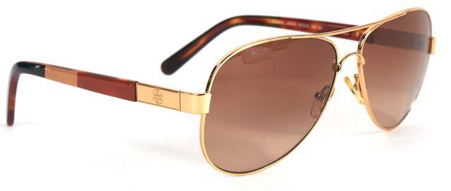 TORY BURCH Gold Black Wire Frame Gradient Lens Aviator Sunglasses