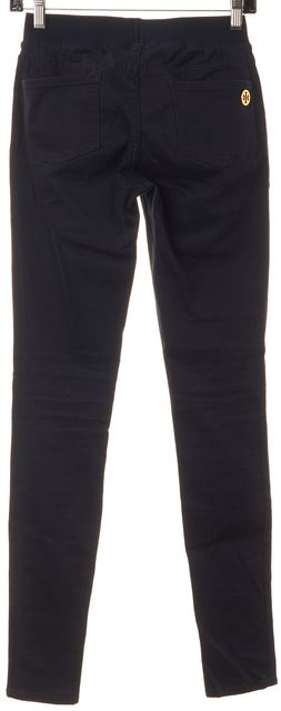 TORY BURCH Navy Blue Stretch Cotton Casual Pant Leggings