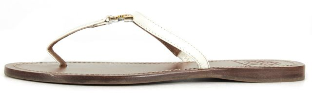 TORY BURCH White Patent Saffiano Leather Flat Sandals