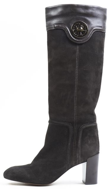 TORY BURCH Brown Suede Leather Combo Knee-high Boot Tall Heel Boots