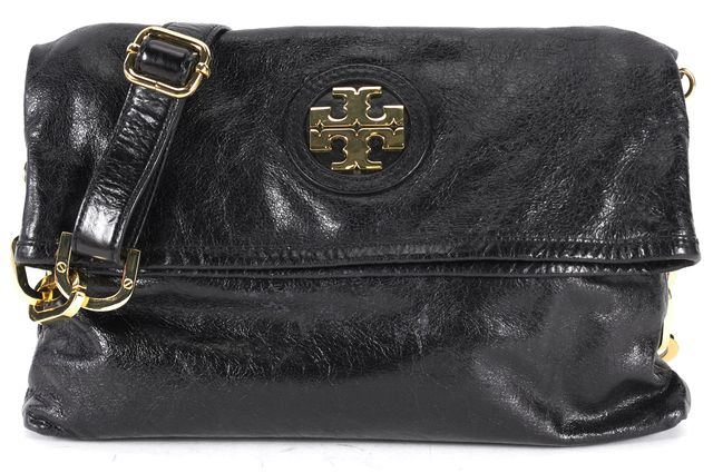 TORY BURCH Black Leather Gold Hardware Fold-Over Crossbody Bag