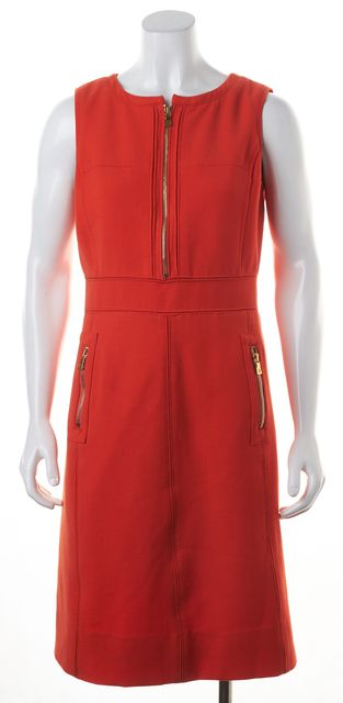 TORY BURCH Orange Textured Wool Sheath Dress
