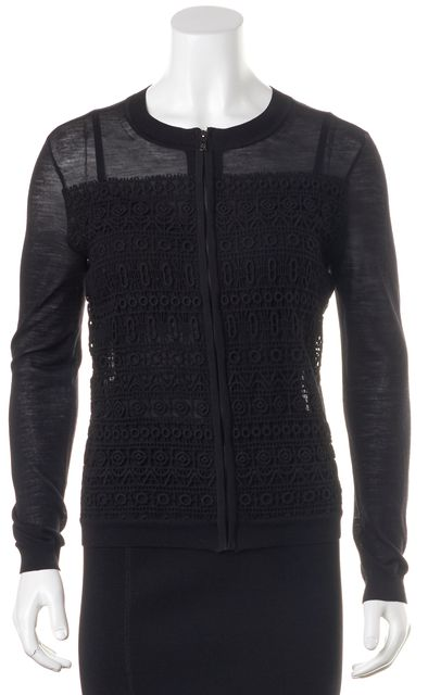 TORY BURCH Black Full Zip Embroidered Cardigan Sweater
