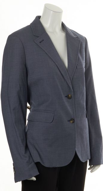 TORY BURCH Blue Wool Double Button Pocket Front Blazer