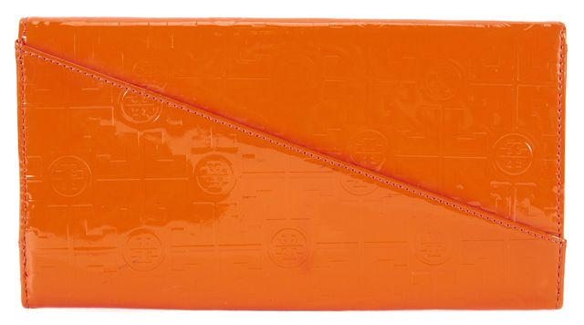 TORY BURCH Orange Patent Leather Logo Embossed Envelope Clutch