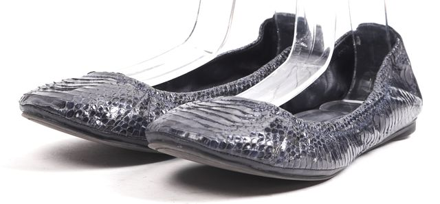 TORY BURCH Blue Leather Snakeskin Ballet Flats