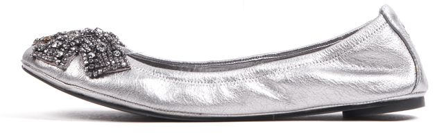 TORY BURCH Silver Leather Crystal Embellished Bow Ballet Flats