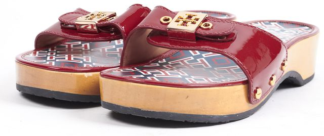 TORY BURCH Red Patent Leather Gold Tone Logo Buckle Clogs Sandals