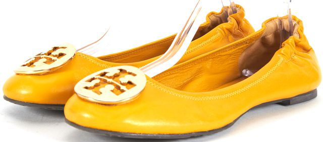 TORY BURCH Goldenrod Yellow Leather Logo Ballet Flats