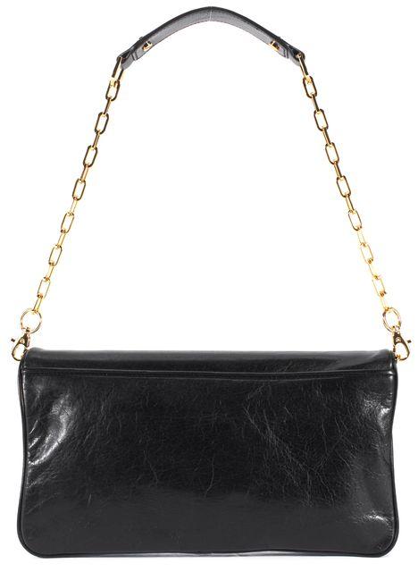 TORY BURCH Black Leather Gold Logo Flap Reva Large Clutch Shoulder Bag