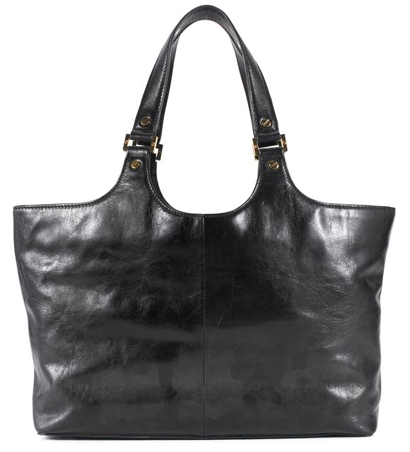 TORY BURCH Black Leather Logo Top Handle Tote Shoulder Bag