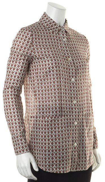 TORY BURCH White Red Blue Floral Cotton Button Down Shirt