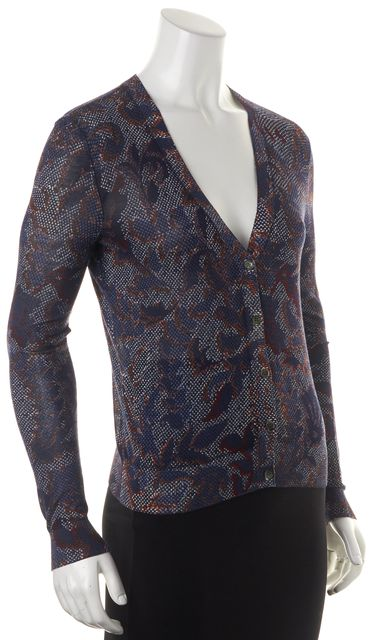 TORY BURCH Blue White Floral Pointillism Printed Lightweight Cardigan