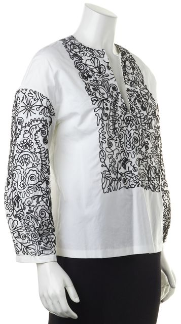 TORY BURCH White Black Embroidered Cotton V-Neck Blouse Top