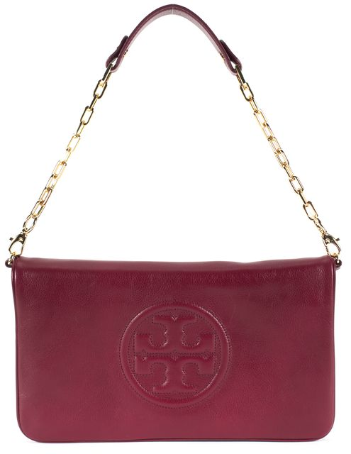 TORY BURCH Red Agate Leather Chain Strap Bombe Reva Clutch Shoulder Bag