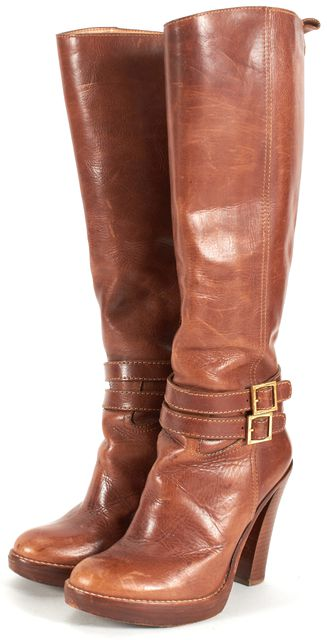 TORY BURCH Brown Leather Gold Ankle Buckle Knee-High Boots