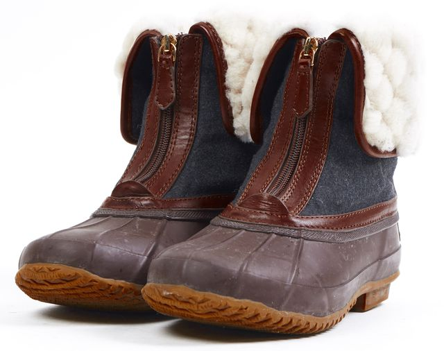 TORY BURCH Brown Wool Shearling Lined Abbott Weather Boots
