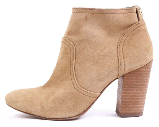 TORY BURCH Beige Suede Slip On Round Toe Ankle Boots