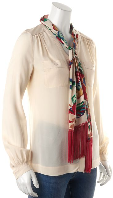 TORY BURCH Ivory Red Removable Floral Printed Scarf Long Sleeve Blouse Top