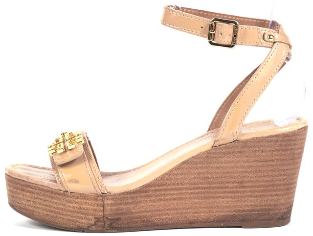 TORY BURCH Beige Patent Leather Ankle Strap Sandal Wedges