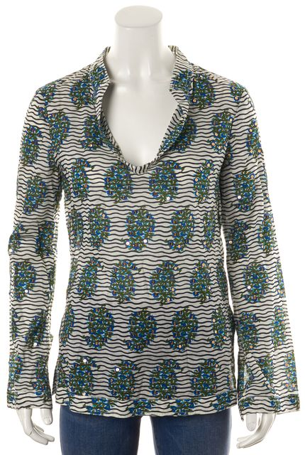 TORY BURCH White Blue Striped Sequin Tunic Blouse