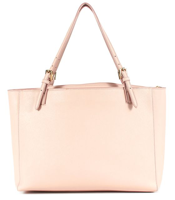 TORY BURCH Baby Pink Saffiano Leather Adjustable Strap York Buckle Tote