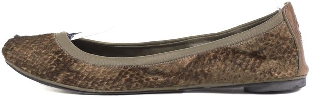 TORY BURCH Brown Reptile Printed Calf Hair Flats