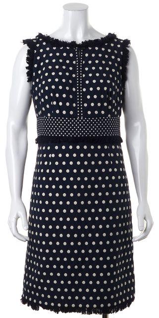 TORY BURCH Navy Blue Ivory Embroidered Polka Dot Fringe Trim Sheath Dress