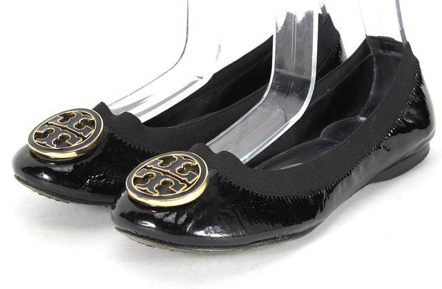 TORY BURCH Black Patent Leather Gold Logo Ballet Flats