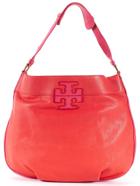 TORY BURCH Red Pink Pebbled Leather Shoulder Bag