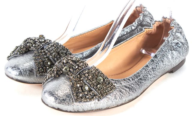 TORY BURCH Silver Metallic Leather Crystal Embellished Bow Ballet Flats
