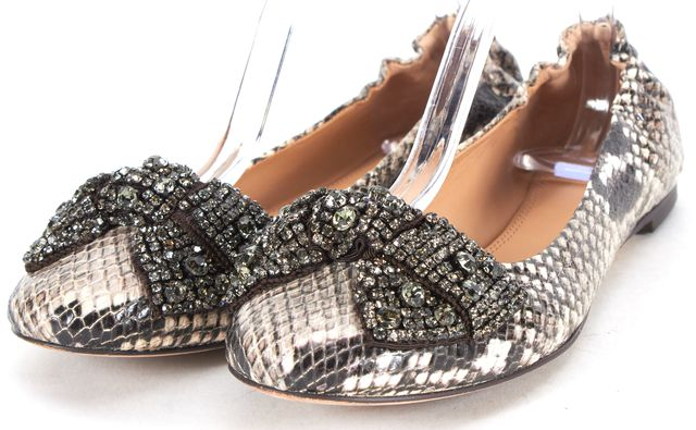TORY BURCH Beige Black Snake Embossed Leather Embellished Bow Ballet Flats