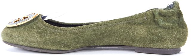 TORY BURCH Green Suede Leather Ballet Flats