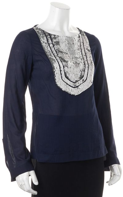 TORY BURCH Navy Blue Silver Sequin Embellished Tunic Blouse