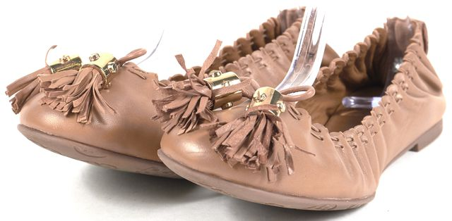 TORY BURCH Brown Leather Tassel Reese Ballet Flats