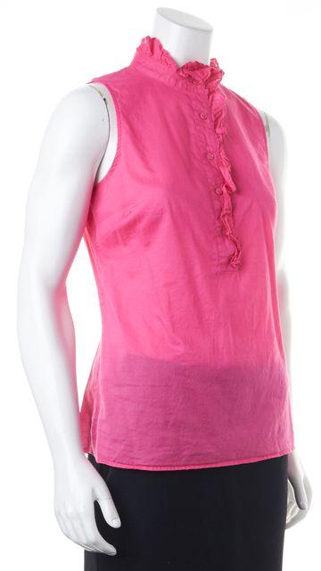 TORY BURCH Pink Semi Sheer Cotton Sleeveless Ruffle Trim Blouse Top