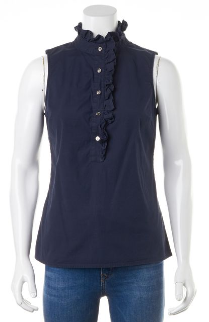 TORY BURCH Navy Blue Stretch Cotton Sleeveless Ruffle Trim Blouse Top
