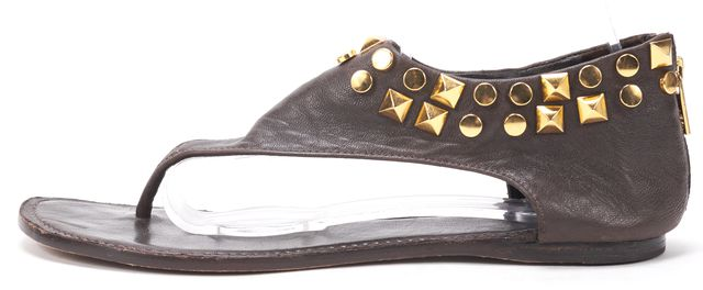 TORY BURCH Brown Gold Stud Embellished Leather Flat Thong Sandals