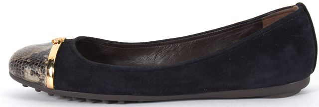TORY BURCH Black Suede Leather Snake Embossed Cap Toe Flats