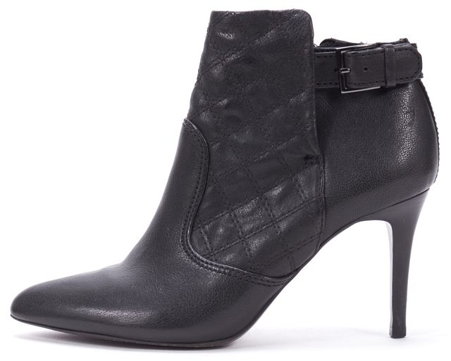 TORY BURCH Black Quilted Leather Pointed Toe Heeled Ankle Boots
