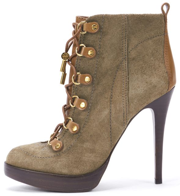 TORY BURCH Army Green Brown Suede Lace Up Platform Ankle Boots