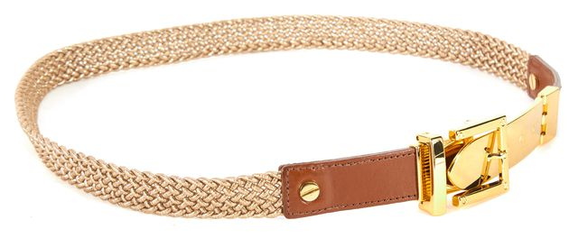 TORY BURCH Metallic Gold Woven Canvas Leather Trim Belt