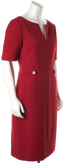 TORY BURCH Red Short Sleeve V-Neck Sheath Dress