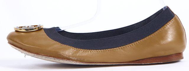TORY BURCH Beige Navy Blue Leather Ballet Flats
