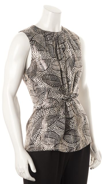 TORY BURCH Black Gold White Leaf Polka Dot Front Tie-Up Silk Blouse
