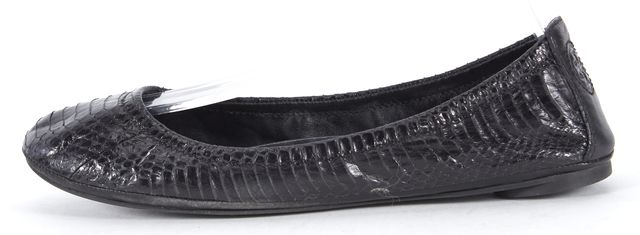 TORY BURCH Black Snakeskin Embossed Leather Ballet Flats