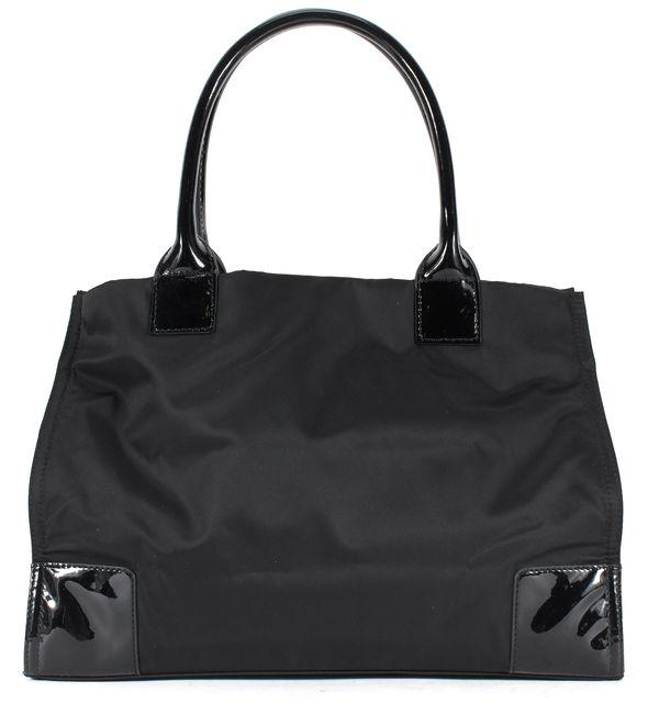 TORY BURCH Black Nylon Patent Leather Trim Ella Logo Tote