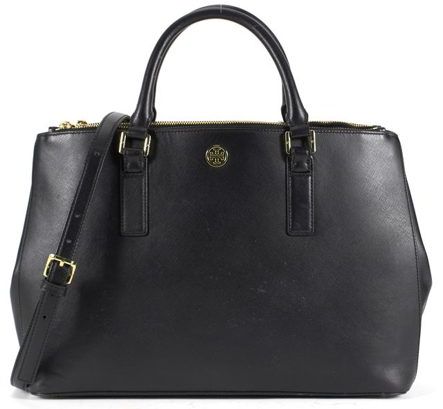 TORY BURCH Black Saffiano Leather Gold-Tone Hardware Strap Satchel