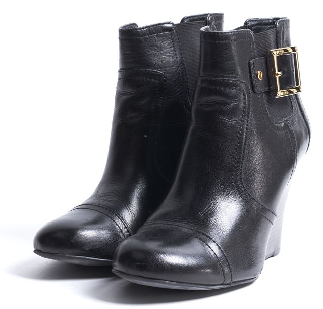 TORY BURCH Black Leather Wedged Ankle Boots